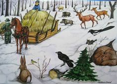 Snow Scenes, Forest Animals, Winter Theme, Winter Holidays, Mammals, Storytelling, Diy And Crafts, Moose Art, Watercolor