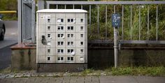Miniature apartment street art by Evol, a German artist currently living and working in Berlin.