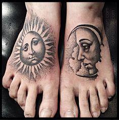 Moon & Sun Feet Tattoos  http://www.tattooesque.com/wp-content/uploads/2014/04/Moon-Sun-Feet-Tattoos.png http://www.tattooesque.com/moon-sun-feet-tattoos/ #foot, #Unisex