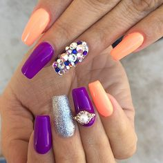 Orange and purple coffin nails with gems