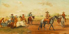 Disponiéndose a jinetear con Tentemoso Ernesto Icaza 1918 Óleo sobre tela Colección Museo de Historia Mexicana