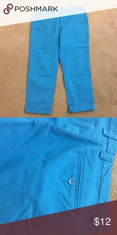 Gap pants- Blue- 10 Khakis by Gap. Bright blue.  Size 10. Worn a few times.  98% Cotton 2% Spandex. Machine wash & dry. GAP Pants Ankle & Cropped