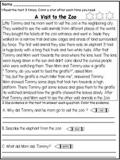 2nd Grade Reading Comprehension Passages and Questions | Reading ...
