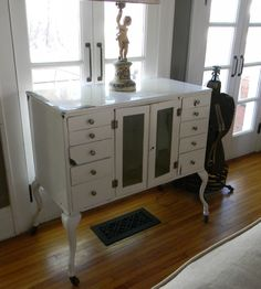 Vintage Industrial White Enamel Zinc Gray  Dental Cabinet.