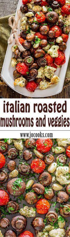 Stegte svampe og grøntsager