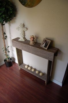 Console table Farmhouse Furniture Reclaimed Wood Table. Country Entry Table Eco Friendly Furniture. Thin Entry Table. Small Apartment Tables