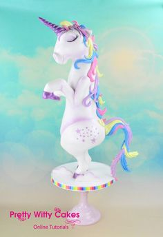 Unicorn Cake tutorial made by the amazing Dawn Butler for Pretty Witty cakes.  This unicorn cake made with CakeFrame is the ultimate - it stands, is rainbow cake inside AND it farts glitter!