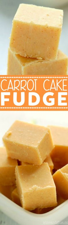 This Carrot Cake Fudge is only five ingredients and tastes just like my homemade Carrot Cake! You will love the secret ingredient that makes this easy fudge recipe taste like carrot cake. Delicious Fudge Recipe, Fudge Recipes, Candy Recipes, Baby Food Recipes, Sweet Recipes, Baking Recipes, Delicious Desserts, Dessert Recipes, Yummy Food