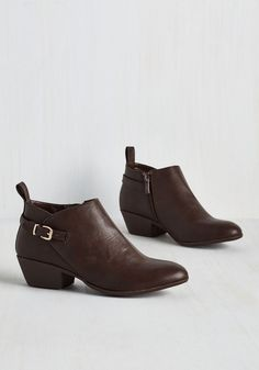 Art Crawl Sprawl Bootie in Brown - Brown, Solid, Buckles, Work, Minimal, Better, Chunky heel, Ankle, Variation, Faux Leather