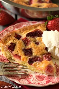 Strawberry Torte - A simple dessert made with fresh strawberries (or other fruit of your choice). This has the most amazing flavor thanks to a secret ingredient!