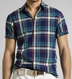 Good LL Bean plaid shirt Casual Shirts, Casual Outfits, Men Casual, Textiles, Short Shirts, Male Fashion, Sd, Annie, Indigo