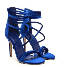 Velvet Touch Strappy Stiletto Heels ❤ liked on Polyvore featuring shoes, heels, velvet shoes, strap shoes, high heel stilettos, strappy stilettos and stiletto heel shoes
