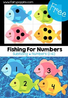 Finshing for Numbers! A free subtilizing fishing game great for teaching numbers to preschool kids during an Ocean theme! #TeachingNumbers #Preschool