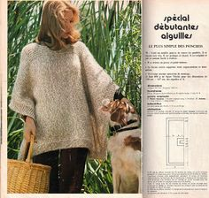 plus simple des ponchos.Le plus simple des ponchos. Poncho Tops, Knitted Poncho, Cardigans For Women, Knitting Projects, Lana, Knit Crochet, Patron Crochet, Filet Crochet, Knitting Patterns