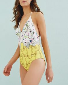 Amp up your beach looks with Ted Baker's swimwear. From beachwear, swimsuits to mix and match bikini bottoms and bikini tops. Halter Top Swimsuits, Swimsuit Tops, Beach Girls, Summer Girls, Strappy Bathing Suit, Floral One Piece Swimsuit, Vintage Underwear, Mix And Match Bikini, Designer Swimwear