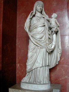 Messalina, wife of Emperor Claudius, with son Britannicus, Roman statue (marble), 1st century AD, (Musée du Louvre, Paris).