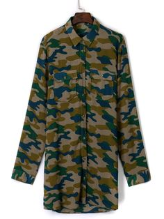 Green Camouflage Pocket Front Long Shirt