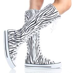 Black Zebra Lace Up Knee High Boots Canvas Sneakers Womens Skate Shoes