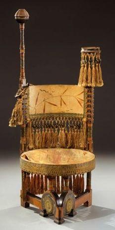 CARLO BUGATTI 'throne' chair with round seat, 1902, walnut, paper, paint, copper, zinc, silk, 48 in. H