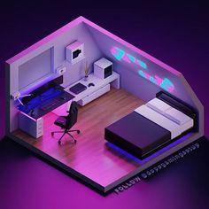 8 Cheap Things to Maximize a Small Bedroom . Gaming Desk Setup, Computer Gaming Room, Computer Setup, Gamer Bedroom, Bedroom Setup, Small Game Rooms, Video Game Rooms, Isometric Design, Game Room Design