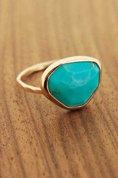 Freeform Turquoise Ring - 14K Gold Melissa Joy Mannjng