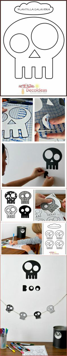 FREE printable skull template for DIY halloween decoration garlands
