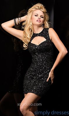Scala Sequin Dress with Cut Out Back at SimplyDresses.com