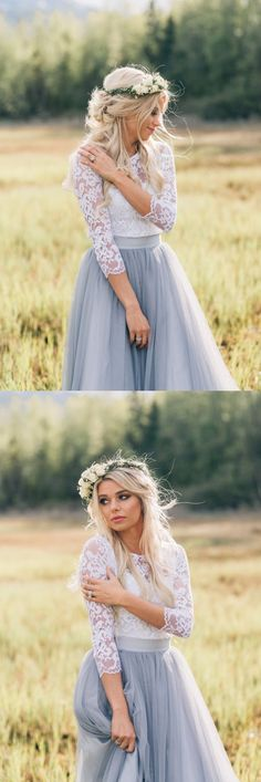 Grey Tulle Bridesmaid Dress With Lace, Lace Bridesmaid Dresses, Elegant Bridesmaid Dresses