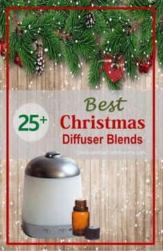 my favorite Christmas diffuser blends all in one place and there's even a FREE PRINTABLE of all the recipes- Gingerbread Man, Candy Cane Surprise, Holiday Joy, Christmas Tree Forest, All Is Calm, and many more of my Christmas diffuser blend favorites!
