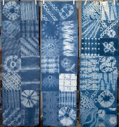 This is the first example of patch-worked indigo-dyed shibori that I have every really liked. I am now inspired to experiment with it, and maybe e. Shibori Fabric, Shibori Tie Dye, Japanese Quilts, Japanese Textiles, Shibori Techniques, Indigo Dye, Fabric Manipulation, How To Dye Fabric, Fabric Painting