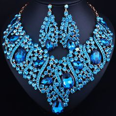 African Beads Jewelry Water Drop Full Crystal Rhinestones  Necklace Earrings set Luxury Bridal Jewelry sets