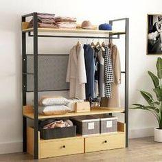 Gracie Oaks Baring W Closet System Wardrobe Design, Wardrobe Closet, Closet Bedroom, Open Wardrobe, Iron Furniture, Steel Furniture, Furniture Design, Furniture Dolly, Furniture Stores