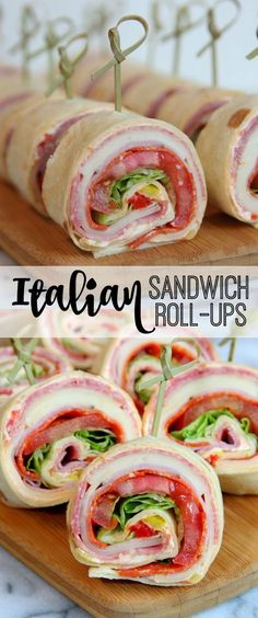 Italian Sandwich Roll Ups - A delicious and easy recipe for everyone! - - Italian Sandwich Roll Ups – A delicious and easy recipe for everyone! Party 25 Pinwheel Roll Ups for Game Day Lunch Recipes, Appetizer Recipes, Cooking Recipes, Sandwich Recipes, Cooking Games, Italian Appetizers, Avacado Appetizers, Prociutto Appetizers, Sandwich Appetizers