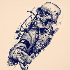 Skull Rose Tattoos, Black Tattoos, Body Art Tattoos, Sleeve Tattoos, Creepy Tattoos, Cool Tattoos, Skull Tattoo Design, Tattoo Designs, Tattoo Sketches