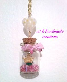 Handmade golden chain pendant with mini glass by thenkcreations