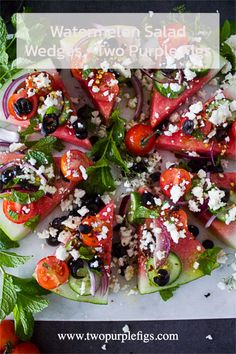 Not only is this a refreshing watermelon salad to fill up on, it's also the best salad to your BBQ! Bright, refreshing and super delicious loaded Greek flavors over watermelon wedges. Watermelon Salad Recipes, Watermelon And Feta, Mango Salad, Feta Salad, Healthy Appetizers, Appetizer Recipes, Healthy Recipes, Healthy Eats, Keto Recipes