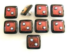 Red with Silver Dots Glass Cabinet Knobs | Flickr: partage de photos!