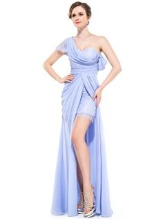 A-Line/Princess One-Shoulder Floor-Length Chiffon Lace Holiday Dress With Ruffle Split Front