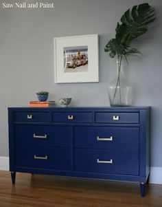 I like this color for the chest sapphire blue dresser front - 2 parts Klein 1 Part Coastal Refurbished Furniture, Repurposed Furniture, Furniture Makeover, Painted Furniture, Living Room Furniture, Furniture Projects, Diy Furniture, Furniture Websites, Furniture Market