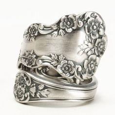 Buttercup Flower Ring, Sterling Silver Spoon Ring, Buttercup Blossoms,Antique Gorham Buttercup, Gorham Silver, Adjustable Ring Size (5814)