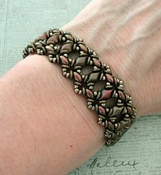 Linda's Crafty Inspirations: Bracelet of the Day: Bluebell - Copper Rose & Leather