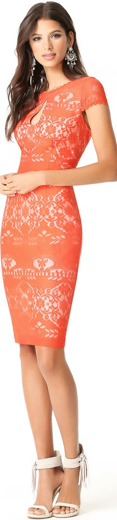 this peach orange peephole dress is perfect for a cocktail party.| weddingz.in | India's Largest Wedding Company | Indian Wedding Cocktail Party Fashion Inspiration | Pretty Dresses, Sexy Dresses, Beautiful Dresses, Short Dresses, Fashion Dresses, Lace Dresses, Mode Orange, Keyhole Dress, Look Chic