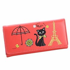 Egmy Womens Button Wallet PU Leather Cat Tower Coin Purse Card Bag Long Watermelon Red >>> You can get more details by clicking on the image.