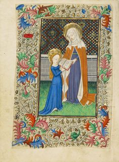 Saint Anne Teaching the Virgin to Read; Master of Sir John Fastolf (French, active before about 1420 - about 1450); France; about 1430 - 1440; Tempera colors, gold leaf, and ink on parchment; Leaf: 12.1 x 9.2 cm (4 3/4 x 3 5/8 in.); Ms. 5, fol. 45v; J. Paul Getty Museum, Los Angeles, California