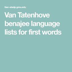 Van Tatenhove benajee language lists for first words