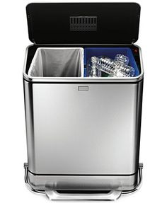 simplehuman 48L Steel Bar Dual Recycler Step Trash Can