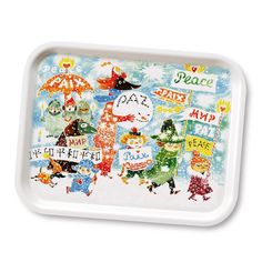 """Beautiful white tray with colorful details with beloved characters from Moominvalley. Handmade tray with a classic motif taken from Tove Jansson's original drawings. High quality wood, made in Sweden.  Look <a href=""""https://www.moomin.com/en/tag/unicef/1187""""> here </a> for a full list of Unicef themed products."""