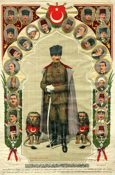 Poster Printed By Mustafa Kemal Pasha and His Friends, Printed in the War of Independence. Turkish War Of Independence, Turkish Soldiers, Ottoman Turks, Socialist Realism, Cultural Identity, Old Advertisements, Military Diorama, Ottoman Empire, Illustrations