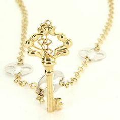 Estate 14 Karat Yellow White Gold Quatrefoil Key Drop Necklace Fine Jewelry Used $495
