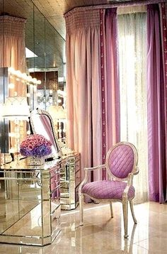 CLICK For More MAKEUP COLLECTION IDEAS For Your Beauty Room to organize your growing beauty & #makeupcollection with the best, top quality organizers for your #beautyroom and #makeup vanity for the Beauty #Blogger, the #MUA and those who love ALL Things #Beauty. Decoration Inspiration, Room Inspiration, Decor Ideas, Design Inspiration, Sala Glam, Mirrored Vanity Table, Mirrored Furniture, Vanity Tables, Vanity Mirrors